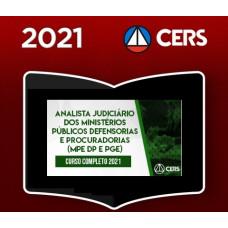 ANALISTA JUDICIÁRIO - MINISTÉRIO PÚBLICO - DEFENSORIAS - PROCURADORIAS - CERS 2021
